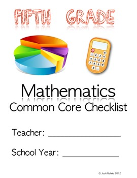 FILL and SAVE Fifth Grade (5th Grade) Math CCSS Checklist and Report Document