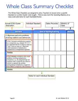 FILL and SAVE Fourth Grade (4th Grade) Math CCSS Checklist and Report Document