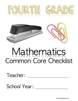 FILL and SAVE Fourth Grade (4th Grade) Math CCSS Checklist