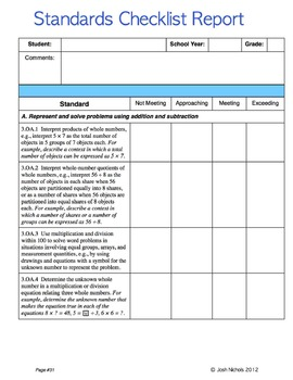 FILL and SAVE Third Grade (3rd Grade) Math CCSS Checklist and Report Document