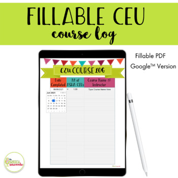 FILLABLE CEU Course Log