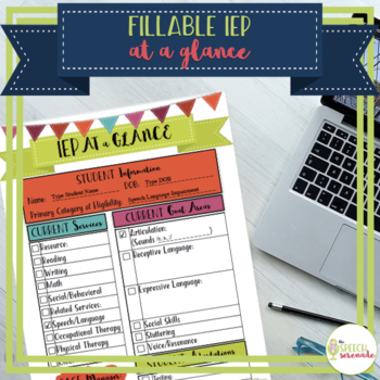 FILLABLE IEP At a Glance