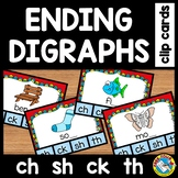 ENDING DIGRAPHS CLIP CARDS: ENDING SOUNDS PHONICS CENTERS: