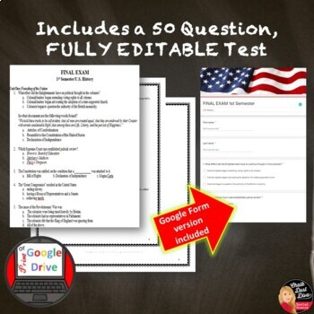 FINAL EXAM and World Cafe Review Activity -1st Semester U.S. History (Secondary)