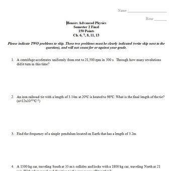FINAL EXAM - Physics/Honors Physics Semester 2