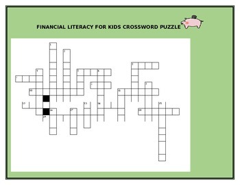FINANCIAL LITERACY FOR KIDS CROSSWORD PUZZLE GRADES 3-8