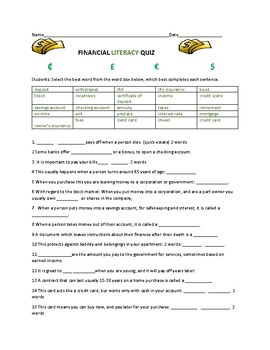 Financial Literacy Quiz 25 Questions Wanswer Key 2 Financial