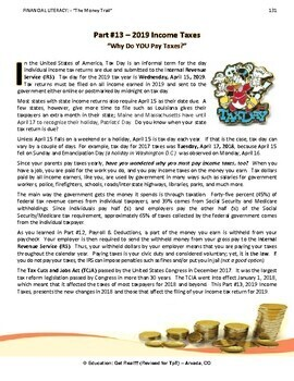 FINANCIAL LITERACY - The Money Trail - Part 13 - 2016 Income Taxes, 4th Ed 2017