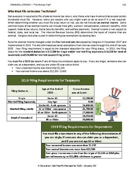 FINANCIAL LITERACY - The Money Trail - Part 13 - 2017 Income Taxes, 5th Ed