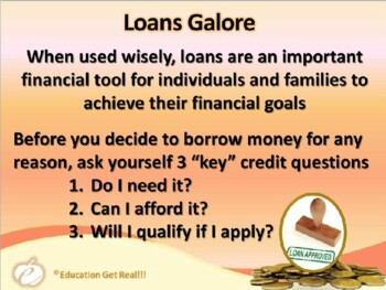 FINANCIAL LITERACY–The Money Trail – Part 16 – Loans Galore POWERPOINT