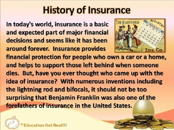 FINANCIAL LITERACY–The Money Trail–Part 21–What is Insurance? POWERPOINT