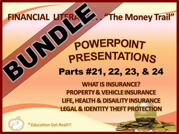 FINANCIAL LITERACY – The Money Trail – PowerPoint BUNDLE Parts 21, 22, 23 & 24