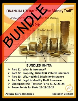 FINANCIAL LITERACY – The Money Trail Series BUNDLE Parts 21,22,23,24 +Tests&PPTS