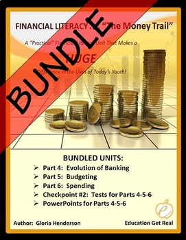 FINANCIAL LITERACY - The Money Trail Series BUNDLE Parts 4, 5, 6 + Tests & PPTS