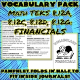 FINANCIAL LITERACY Vocabulary Pack for Eighth Grade Math TEKS