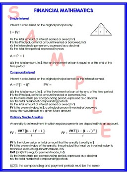 FINANCIAL MATHEMATICS SUMMARY SHEET