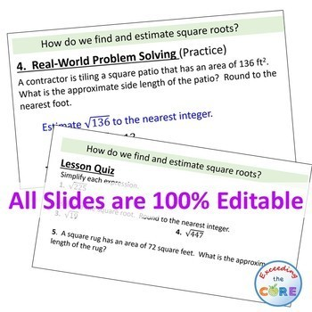 FIND AND ESTIMATE SQUARE ROOTS PowerPoint Presentation