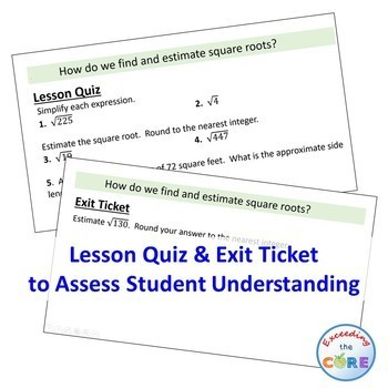 FIND AND ESTIMATE SQUARE ROOTS PowerPoint Mini-Lesson & Guided Practice