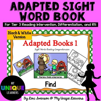 Adapted Sight Word Book: Find  (b & w)