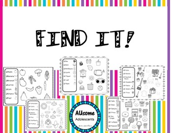 FIND IT!- Receptive Picture Find Tasks (SPED/AUTISM/ELEMENTARY)