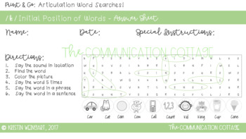 FIND N' FILL: /K/ and /G/ Initial Position Word Search Puzzles