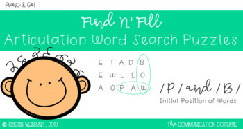FIND N' FILL: /P/ and /B/ Initial Position Word Search Puzzles