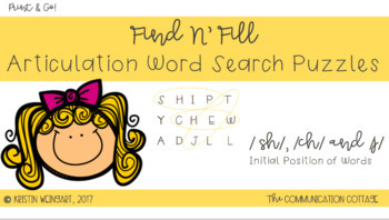 "FIND N' FILL: ""SH"" ,""CH"" & ""J"" Initial Position Word Search Puzzles"