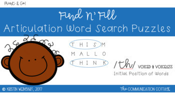 FIND N' FILL: /TH/ (voiced & voiceless) Initial Position Word Search Puzzles