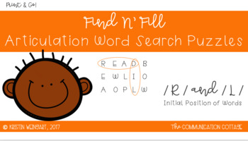 FIND N' FILL: /R/ and /L/ Initial Position Word Search Puzzles