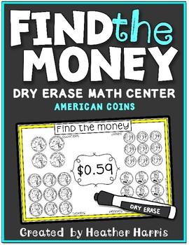FIND THE MONEY: Dry Erase Math Cards