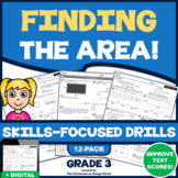 FINDING THE AREA UNIT! 12 Test Prep Practice Drills (Common Core | Grade 3)