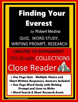 FINDING YOUR EVEREST Quiz, Word Study, Writing, Research