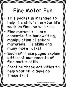 FINE MOTOR HANDOUT SKILLS: 5 skill areas with explanation and activities