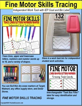 "FINE MOTOR Tracing Task Cards for Autism and Special Education ""Task Box Filler"""