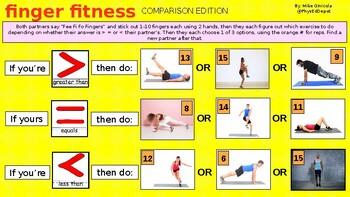 FINGER FITNESS : Comparison > < = Math Common Core pe Powerpoint activity