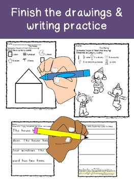 FINISH THE PICTURE & PRACTICE HANDWRITING! Differentiated