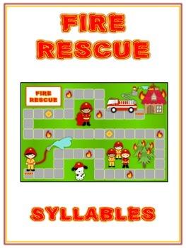 FIRE RESCUE Syllables - ELA First Grade Folder Game - Word