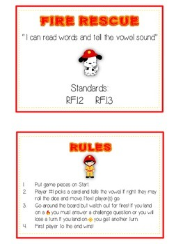 FIRE RESCUE Vowels- ELA First Grade Folder Game - Word Work Center