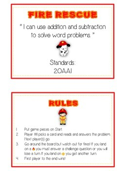 FIRE RESCUE - Word Problems Adding & Subtracting - Math Folder Game