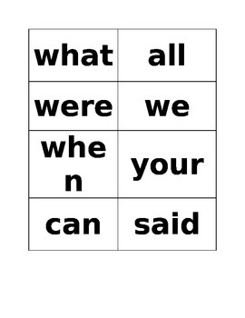 FIRST 100 HIGH FREQUENCY WORDS CARDS