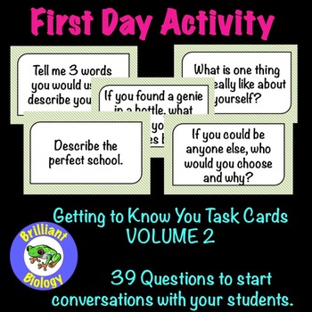 FIRST DAY ACTIVITY: Getting to Know You Task Cards Volume 2