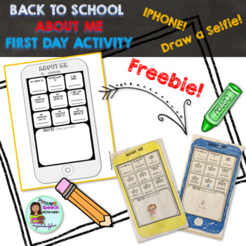 FIRST DAY Activity ALL ABOUT ME iPhone Worksheet FREE FREEBIE speech therapy