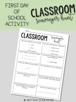 FIRST DAY OF SCHOOL ACTIVITIES - Classroom Scavenger Hunt