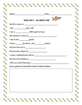 FIRST DAY OF SCHOOL: ALL ABOUT ME ACTIVITY