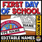 1ST DAY OF SCHOOL CRAFT EDITABLE CROWN ACTIVITY KINDERGART