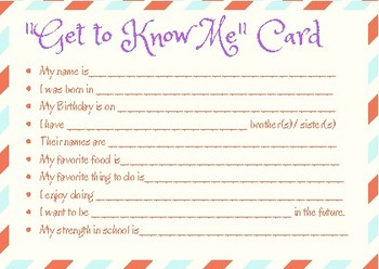 FIRST DAY OF SCHOOL- Get to Know You CARD