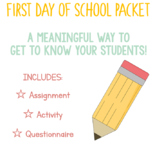 FIRST DAY OF SCHOOL PACKET! Get Your Students Moving While