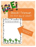 FIRST DAY OF SCHOOL: Spanish 1 Warm-up: Cognates and Spanish!