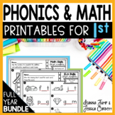 FIRST GRADE BUNDLE  200 PRINTABLES for MATH & ELA