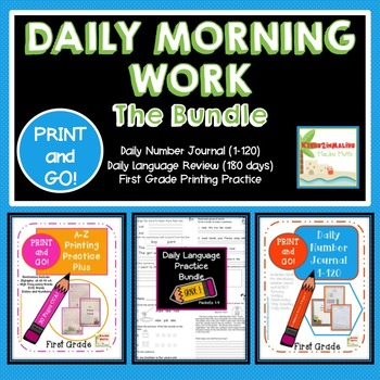 FIRST GRADE Daily Morning Work BUNDLE!!! PRINT AND GO! CCSS-Bell Ringer!